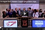 Mining Company Western Copper Lists on NYSE MKT